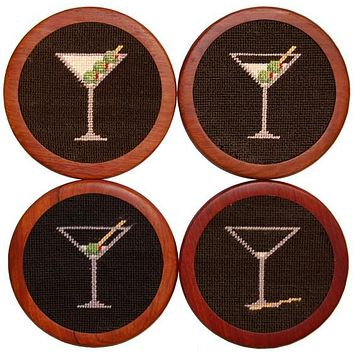 Martini Coasters in Black by Smathers & Branson