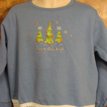 HAPPY HOLIDAYS Baby Blue Christmas Sweatshirt