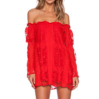 For Love & Lemons Garden Rose Dress in Hot Red