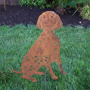Unique  German Shorthair Pointer Meta stake rusty finish art garden steel sculpture GSP dog lovers gift / pet memorial short hair