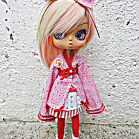 LOVELY PULLIP Dal, Byul KAWAII Pink/Red Lolita Kimono dress