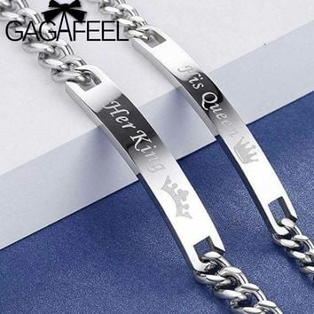 Cool GAGAFEEL Romantic Her King Couple Bracelets His Queen Bracelets Customized Engrave Stainless Steel Lover Bracelet BangleAT_93_12