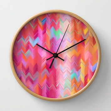 Colorful painted chevron pattern - pink, purple, yellow, orange Wall Clock by micklyn