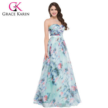 Beautiful Flower Pattern Floral Print Evening Dresses Sweetheart Long Ruched Formal Dress Maxi Beach Party Gown Chiffon GK000004