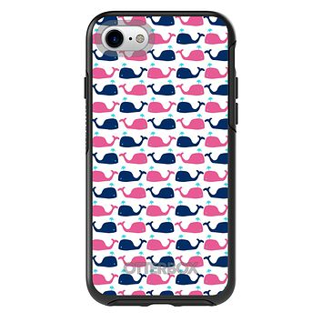 DistinctInk™ OtterBox Symmetry Series Case for Apple iPhone / Samsung Galaxy / Google Pixel - Pink Navy Cartoon Whales