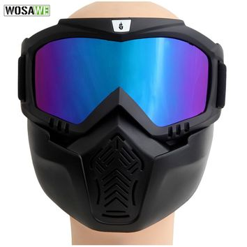 WOSAWE Airsoft Windproof Snowboard Goggles Ski Glasses Paintball Motocross Glass with Face Mask Protection Gear Skiing Eyewear