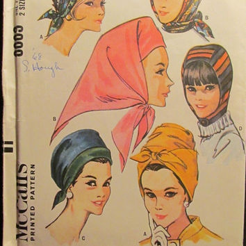 SALE Uncut 1960's McCall's Sewing Pattern, 8009! 4 Quick Hats/Small/Large/Women's/Misses/Scarf hats/Hood Hat/Head Wraps/Scarf Wraps/Fashion