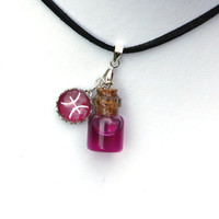 Zodiac Necklace - Pisces - pink, fuchsia