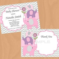 Baby Shower Invitation Elephant Baby Shower Invitation Girl Baby Shower Invitation Invites (50-2) - Free Thank You Card - Instant Download