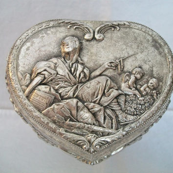 vintage heart shaped trinket box, lady & cherubs