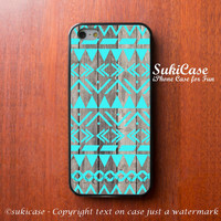 IPHONE 5 CASES AZTEC Mint Geometric On Dark Wood iPhone 5 iPhone 5s iPhone Case Samsung Galaxy S4 S3 Cover iPhone 5c cases iPhone 4s case
