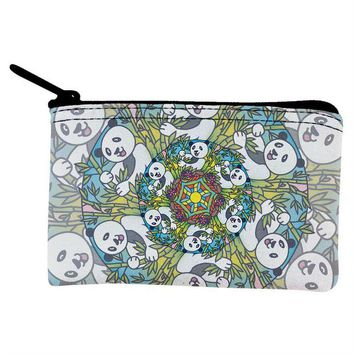 DCCKJY1 Mandala Trippy Stained Glass Panda Coin Purse