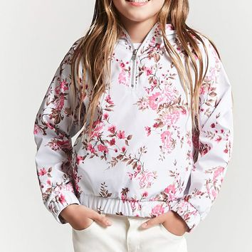 Girls Floral Print Hooded Anorak (Kids)