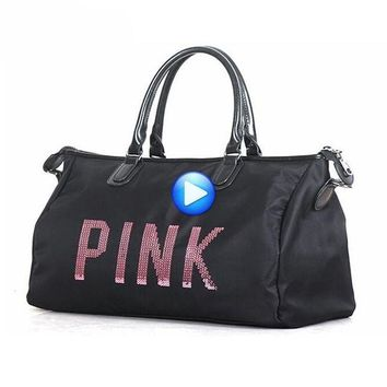 DCCK7N3 Hot Training Female Yoga Duffel Bag Metal Sequins PINK Letters Gym Fitness Sports Bag Shoulder Bag Women Tote Handbag Travel