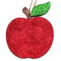 Apple Decoration, Wooden Ornament, Glitter Decoration, Apple Ornament, Hanging Decoration, Wooden Decoration, Glitter Apple, Red Apple