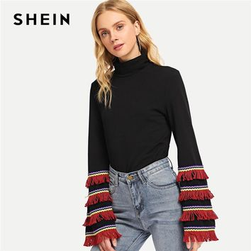 SHEIN Black Office Lady Elegant Fringe Detail Mock Neck Long Sleeve Solid Pullovers Tee 2018 Autumn Casual Women T-shirt And Top