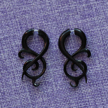"Fake Gauge Earrings, ""Treble clef"" Horn, Naturally Organic, Hand Carved, Tribal"