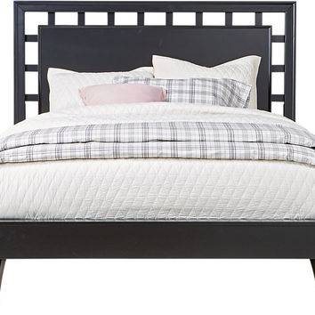 Belcourt Black 3 Pc Queen Platform Bed with Lattice Headboard - Queen Beds Black