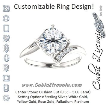 Cubic Zirconia Engagement Ring- The Aina Svanhild (Customizable 11-stone Cushion Cut Design with Bypass Channel Accents)