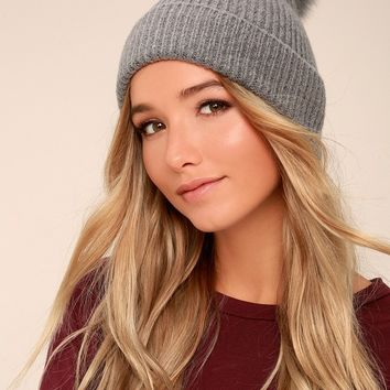 Fireside Chant Grey Fur Pom Pom Beanie