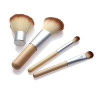 4PCS Bamboo Handle Makeup Brush Set Cosmetics Kit Powder Blush Brushes