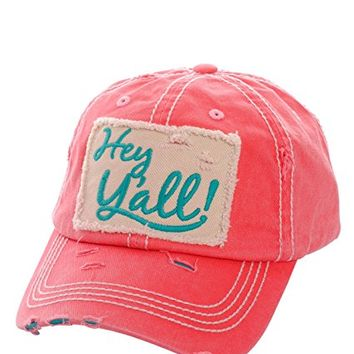 Floral Hey Ya'll Fuchsia Patch Adjustable Baseball Cap KBV1046(FU)