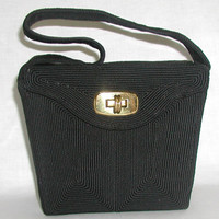 CORDE'  black  vintage art deco 1940s handbag