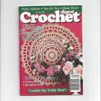 1997 Crochet Digest with Patterns for Afghans, Beret, Hat, Teddy Bear, Lamb, Tablecloth, Bible Cover & Bookmark, Valance, and More