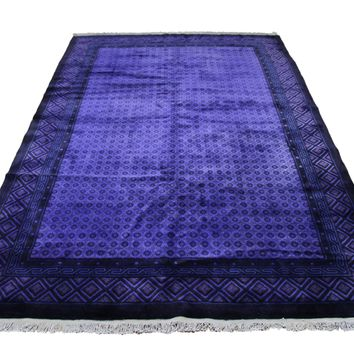 6x9 Overdyed Purple Deco 100% Wool Rug 2863