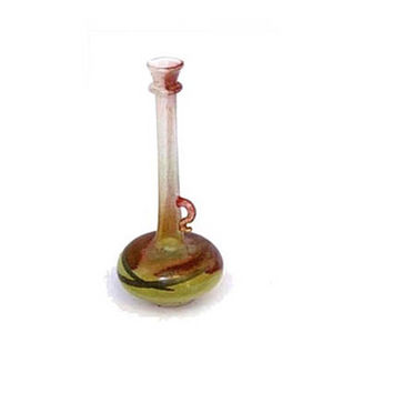 Vintage delicate colorful glass small round handled long neck bud vase.