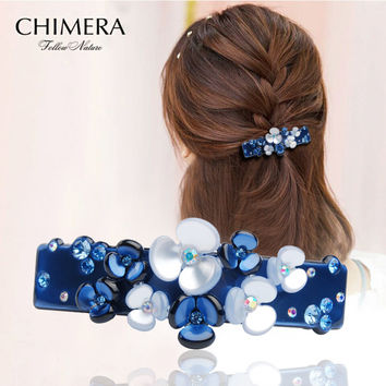 Korea Flower Hair Clip Pin Hairpins Hairclip Luxury Cellulose Acetate Barrette Hairpins Decoration for Spring Hair Clip Kanzashi