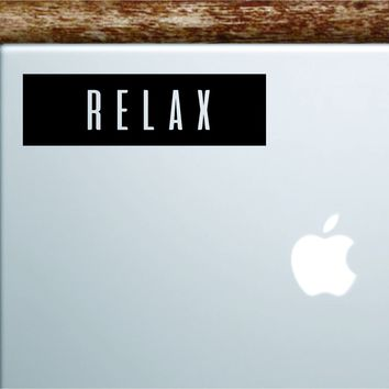 Relax Rectangle Laptop Apple Macbook Quote Wall Decal Sticker Art Vinyl Inspirational Motivational Yoga Breathe Inhale Exhale Chill
