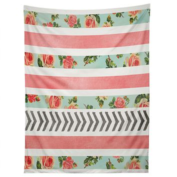 Allyson Johnson Floral Stripes And Arrows Tapestry