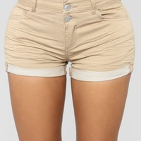 Mandy High Rise Denim Shorts - Khaki