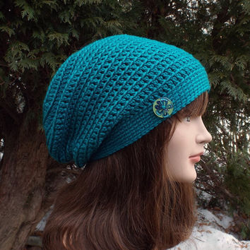 Teal Blue Slouch Beanie - Womens Slouchy Crochet Hat - Ladies Oversized Cap with Button - Hipster Hat - Baggy Beanie