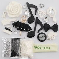 Frog-tech DIY for cellphone ,for HTC Iphone 4/4s Iphone 5g/ I9300 S3/ Samsung Note 2 note 3 HTC 3D Bling ballet dancer girl Music notation bow bowknot love rose Cell Phone Case Resin crystal diamond Flat back Kawaii Cabochons Deco Kit / Set ,cellphone diy