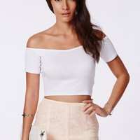 Missguided - Poranka White Bardot Sweetheart Crop Top
