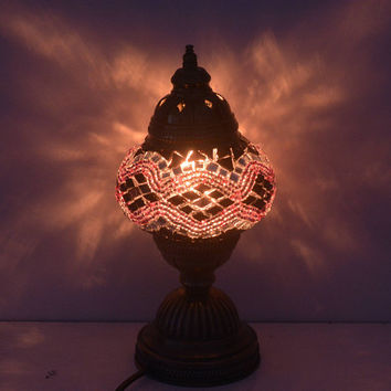Bedside Night Light Lamp Moroccan Lantern Turkish Mosaic Lamps Purple Lighting Fixture