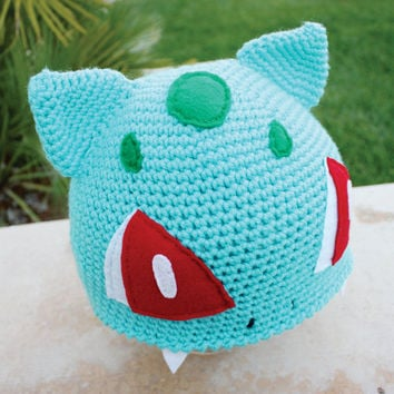 Bulbasaur Pokemon Inspired Hat With Onion Bulb -like Back: Japanese Reptile Anime Kawaii Handmade Crochet Beanie Hat