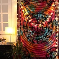 RAJRANG Tie Dye Elephant Tapestry Hippie Mandala Bohemian Tapestries Indian Dorm Decor Psychedelic Tapestry Wall Hanging Ethnic Decorative
