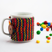 Cup Cozy Warm Rainbow, Knitted Mug Cozy, Coffee Cozy, Tea Cup Cozy, Handmade Wooden Button, Coffee Cozy Sleeve, Warmer, Winter, Gift