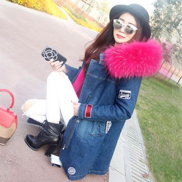 Korean Style 2017 Winter Women's Fashion Loose Long  Patch Designs Big Real Raccoon Fur Hooded Denim Jacket Parkas Coats Outwear