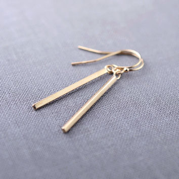 Solid 14K Gold Mini Matchstick Earrings