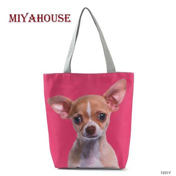 Miyahouse 3D Animal Printed Shoulder Bag Women Canvas Tote Handbag For Teenage Girls Cute Dog Summer Beach Bag Lady