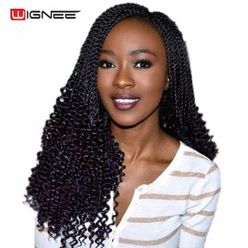 Wignee 20 Inches Curly Senegalese Twist Crochet Braiding Synthetic Fiber Hair Extensions For Women Natural Black Hair Wig Piece