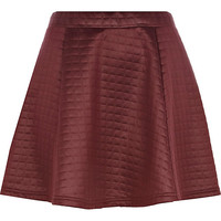 River Island Womens Dark red high shine quilted skater skirt
