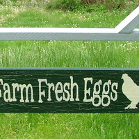 Farm Fresh Eggs Sign with Bracket for Hanging (Forest Green & Silver Crackle)