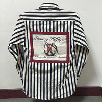 Vintage Tommy Hilfiger Sailing Gear Nautical Sport Embroidered Long Sleeve Shirt Size M