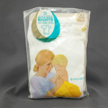 Vintage Baby Side Snap Shirts, Pack of 3, Penneys Toddler Time, Short Sleeve Shirt, Diaper Tapes, NOS, New Old Stock, Infant Clothes