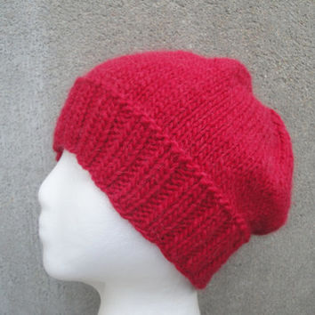 Bright Red Beanie, Jacque Cousteau, Hand Knit Llama/Wool Hat